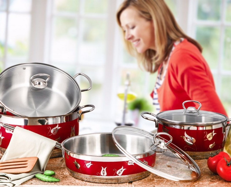 Red Amos Cooking Pot Set – 9 Pieces